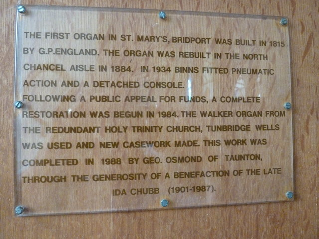 St Mary, Bridport: information board about the organ