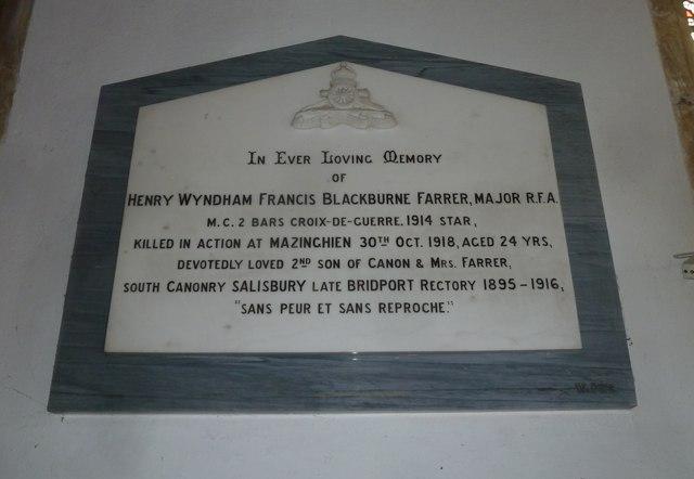 St Mary, Bridport: memorial (XXII)