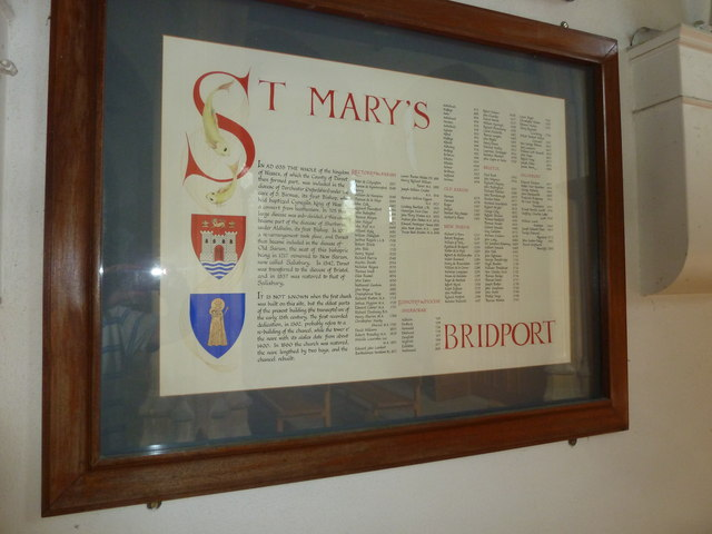 St Mary, Bridport: information board