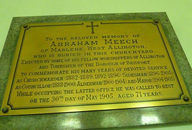 St. Swithun, Allington: memorial (B)