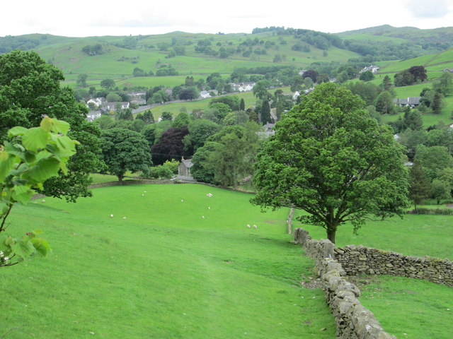 Looking down on the village of Staveley