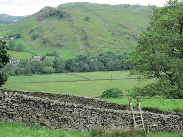 Stile over a dry stone wall above Staveley