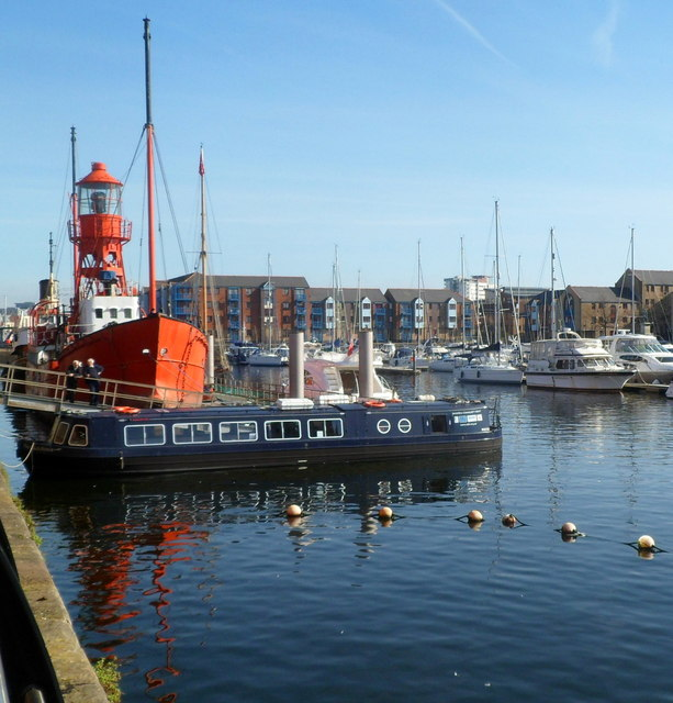 Preserved lightship at Swansea Marina