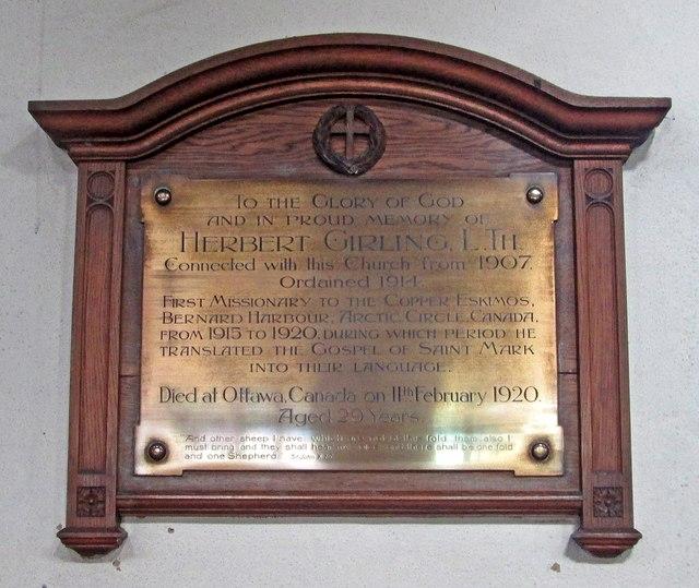 Bobbers Mill Road: St Stephen - monument to Herbert Girling