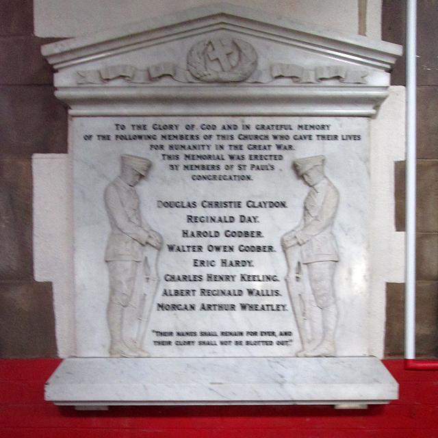 Bobbers Mill Road: St Stephen - St Paul's Great War Memorial