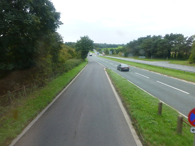 The sliproad from the A559 joins the A556 at Sandiway