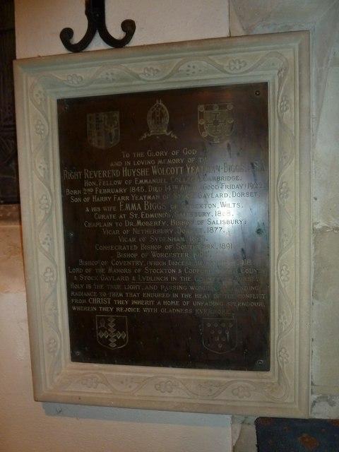 St John the Baptist, Stockton: memorial (g)