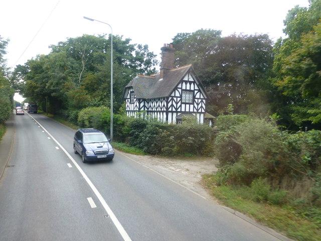 Oakmere Hall lodgehouse on the A49