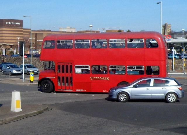 Red South Wales double-decker in Swansea