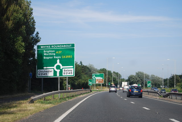 A27 approaching Whyke Roundabout