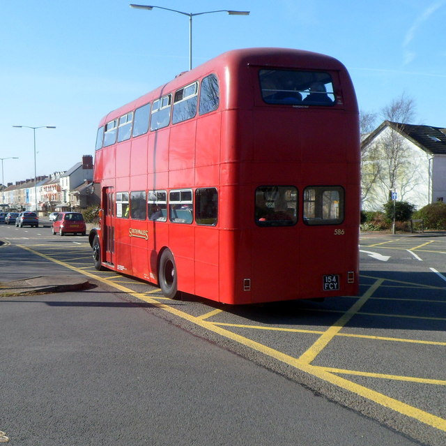 Preserved bus in Oystermouth Road Swansea
