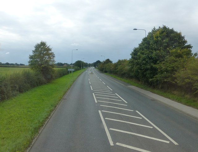 The A54 approach to the Wicker Lane junction near Guilden Sutton