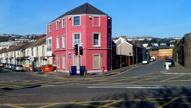 Conspicuous building on the corner of Argyle Street and Glamorgan Street, Swansea