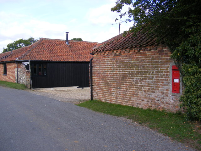 Entrance to Church Farm & Church Farm Victorian Postbox