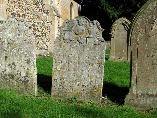 Old headstones in St Mary's churchyard, Rockland St Mary