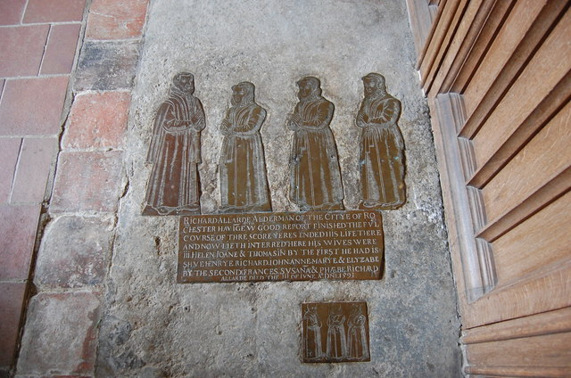 A Brass to Richard Allarde and wives