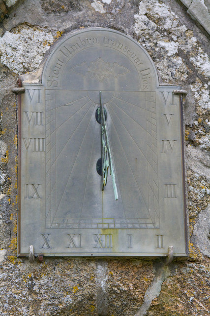 Sundial above the porch at St. Levan church