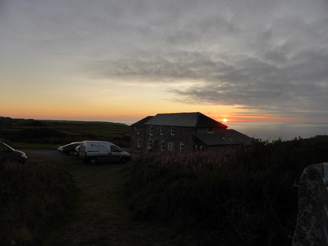 The sun setting behind the Count House