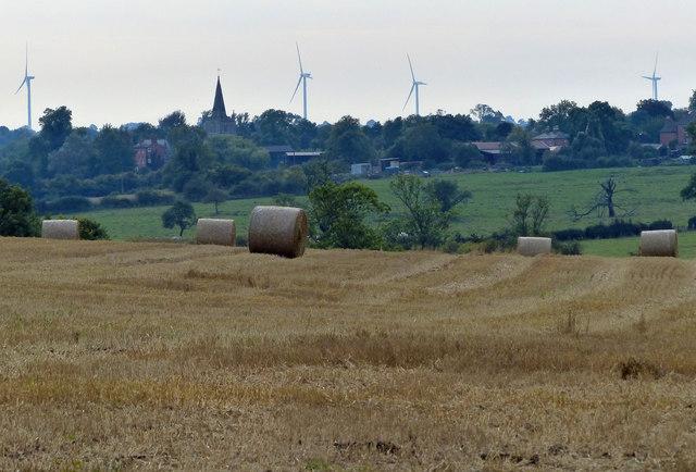 View across farmland towards Peatling Magna