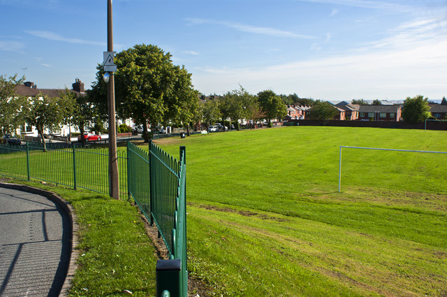A playing field near Huyton Quarry