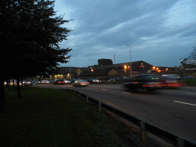The A4 overlooking Fuller's Brewery