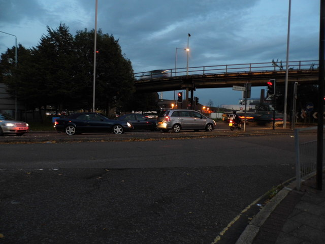 Flyover across Hogarth roundabout, Chiswick