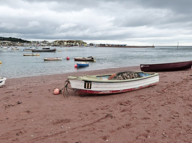 View from Shaldon beach across to Teignmouth and The Point