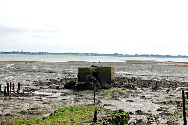 Pillbox and the remains of Tollesbury Pier