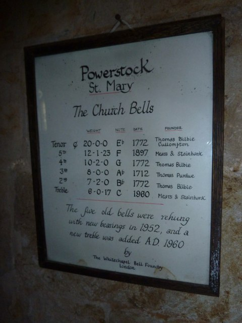 St Mary, Powerstock: information board- bells