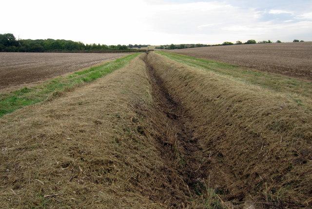Empty ditch between the fields