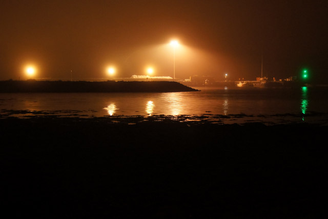 Baltasound pier on a misty night