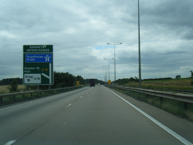A180 about to become the M180 at Barnetby Interchange