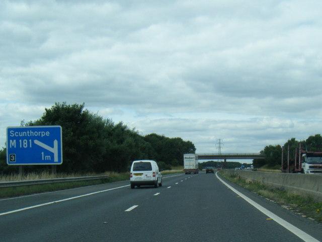 M180 westbound at Newdown