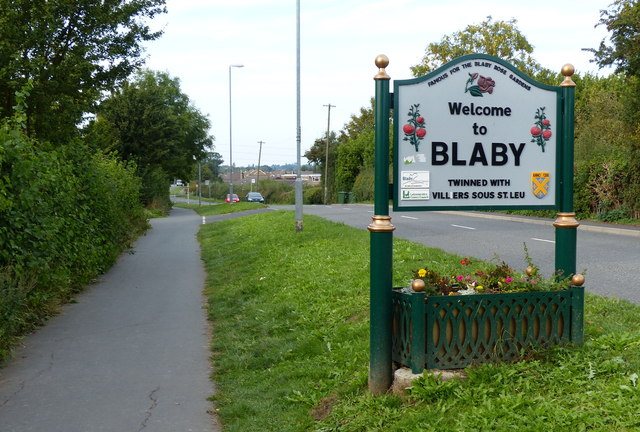 Blaby village sign along Winchester Road