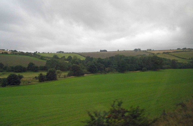 Farmland alongside the East Coast railway at Howburn