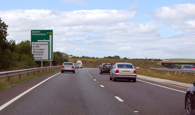 A30 approaching junction with A382 & A3124