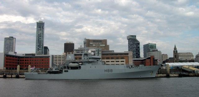 HMS Enterprise moored on Liverpool's Mersey waterfront