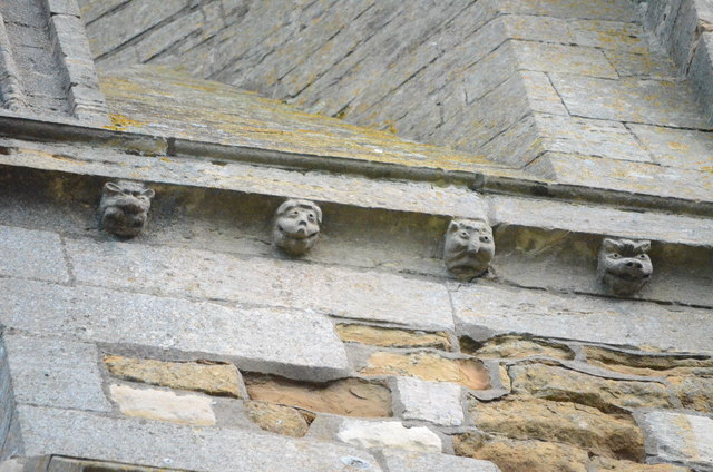 Carved faces, St John the Baptist church, Muston