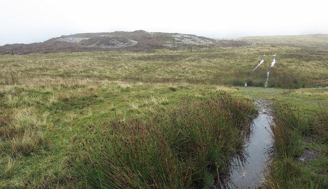 Quarry spoil heap on eastern slope of Cefn-du
