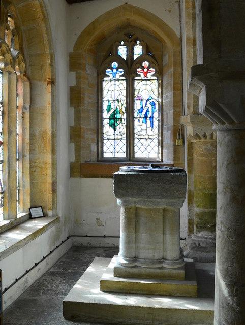 Font in church of St. John the Baptist, Broadwindsor, Dorset