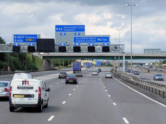 Northbound M42/M6 Toll Split
