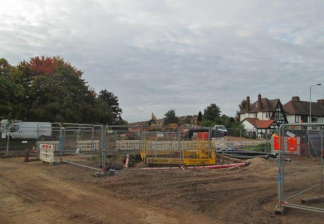 Tramway construction at Wilford Lane