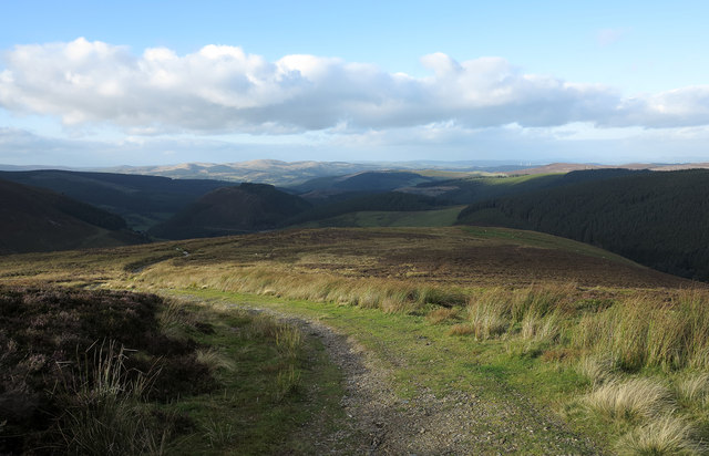Estate road descending on ridge north from Pen y Cerrig Duon