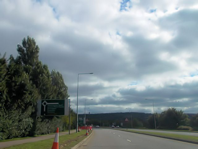 Approaching Browns Wood roundabout