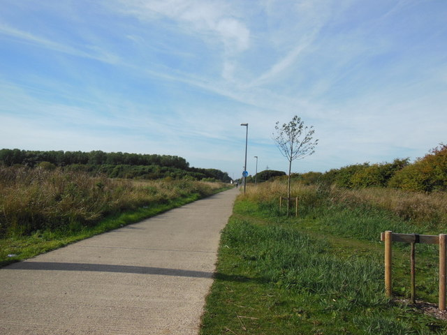 A cyclepath alongside John Newton Way