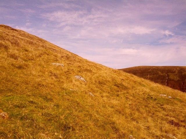 View across hillside towards Monadh Beag beyond