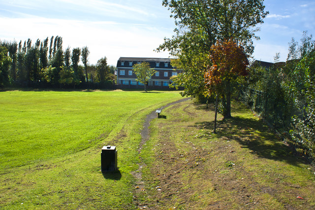 A playing field near Huyton Quarry