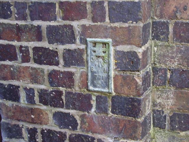 Ordnance Survey flush bracket no. 771 on Coney Lane Bridge