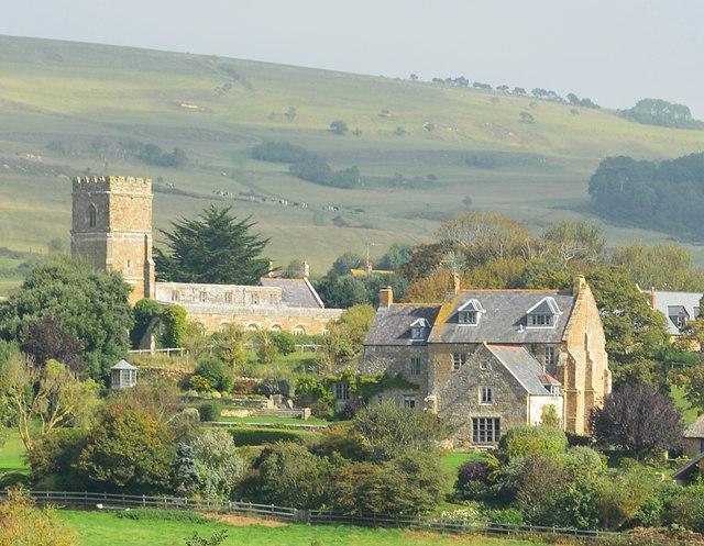 Abbotsbury church and environs from Chapel Hill, Abbotsbury, Dorset