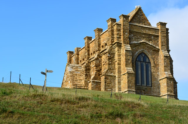 Pilgrim's eye view on approaching St. Catherine's Chapel, Abbotsbury, Dorset